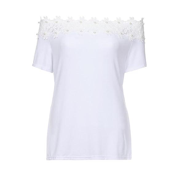 ❤ Camiseta de Empalme de Hombro,Blusa del Empalme del cordón de la Manga Corta del Cuello de la Raya de Las Mujeres Tops de la Camiseta Absolute: ...