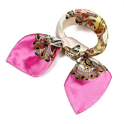QBSM Womens Large Square Satin Silk Neck Head Hair Scarf Wraps Neckerchief for Sleeping Beige Pink Printed 23.6 inch (033) (Printed Silk Bandana)