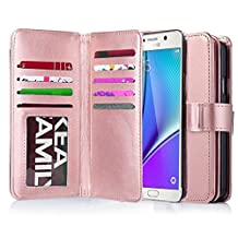 Galaxy Note 5 Case, Jwest Premium Leather Folio Note 5 Wallet Case Wristlet Lanyard Hand Strap Purse Flip Book Style Multiple Card Slots Cash Pocket with Magnetic Closure Case Cover Skin for Samsung Galaxy Note 5 Rose Gold