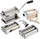 Pasta Maker Deluxe Set By Cucina Pro -Includes Spaghetti, Fettucini, Angel Hair, Ravioli, Lasagnette Attachments