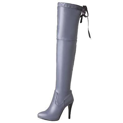 AIYOUMEI Damen Overknee Stiefel mit 10cm Absatz Stiletto High Heels Winter Langschaft Stiefel TGVGuZ