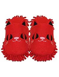 HomeIdeas Women's Plush Cute Animal Microfiber Mop Cleaning House Slippers, Shoes For Women 8-9