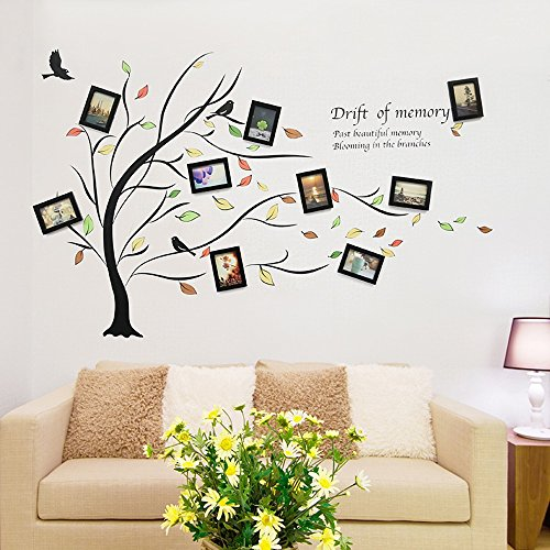 wall photo frames Photo Wall, Living Room Bedroom Sofa Background Wall Decoration, Deciduous Tree Wall Stickers, Photo Wall, Photo Wall, Frame Wall (Color : 1#) by Collage picture frame