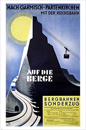 auf die berge (ON THE MOUNTAINS) VINTAGE GERMAN TRAVEL POSTER ski lift WINTER SPORTS 4X36