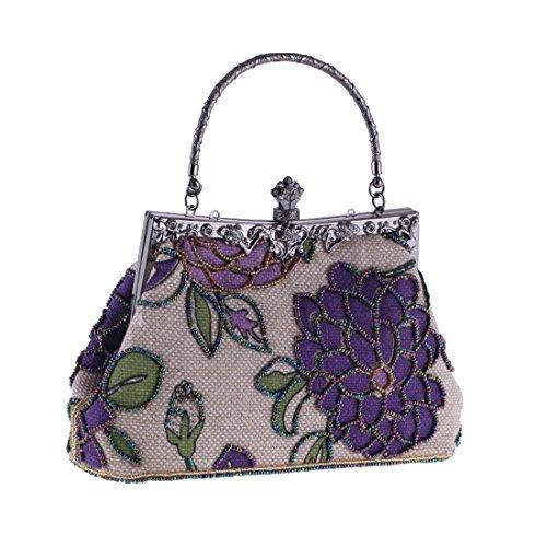 à Sac Style soirée Sac Cheongsam Color Ethnique Match Main Purple à Casual KERVINZHANG Sac Pink à de Moonlight Classique Lin Flowerclutch Main Perles Sac 4qwSyAYU