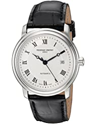 Frederique Constant Mens Classics Automatic Stainless Steel and Leather Casual Watch, Color:Black (Model: FC...