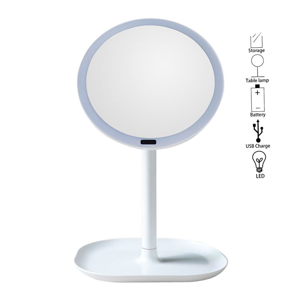 Motion Sensor Mirror ,Aolvo Rechargeable 360 Degree Rotation Led Lighted Makeup Mirror with 30 LED Lights,Storage Stand for Women Girls Beauty Cosmetic Makeup Battery /USB Powered by Aolvo