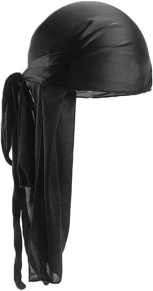 Uomo Donna Raso di seta Traspirante Silky Durag 360 Wave Cool Bandana Cappello Turbante Nero