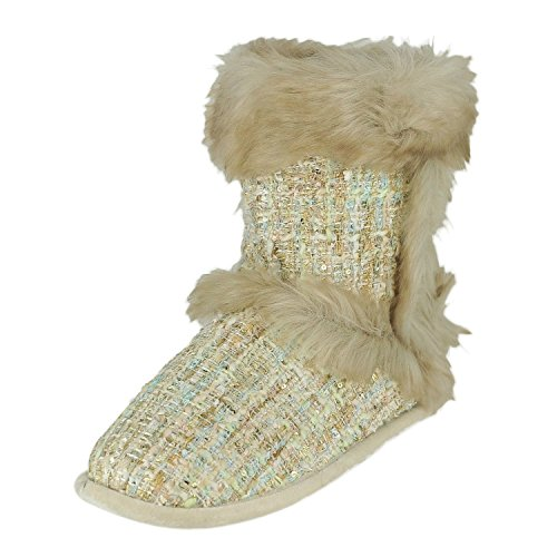 Dearfoams Sequin Tweed Botte Champagne