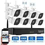 Wireless Security Camera System Outdoor, Firstrend 1080P NVR Security Camera System with 8pcs 1.3MP IP Security Surveillance Cameras,P2P Remote Home Monitoring Systems with Free App and 2TB Hard Drive