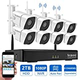 Wireless Security Camera System Outdoor, Firstrend 1080P NVR Security Camera System with 8pcs 1.3MP IP Security Surveillance Cameras,P2P Remote Home Monitoring Systems with Free App and 2TB Hard Drive For Sale