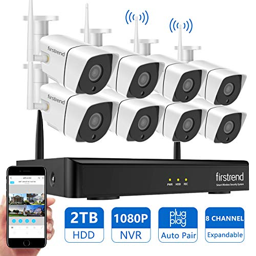 Wireless Security Camera System Outdoor, Firstrend 1080P NVR Security Camera System with 8pcs 1.3MP IP Security Surveillance Cameras,P2P Remote Home Monitoring Systems with Free App and 2TB Hard Drive ()