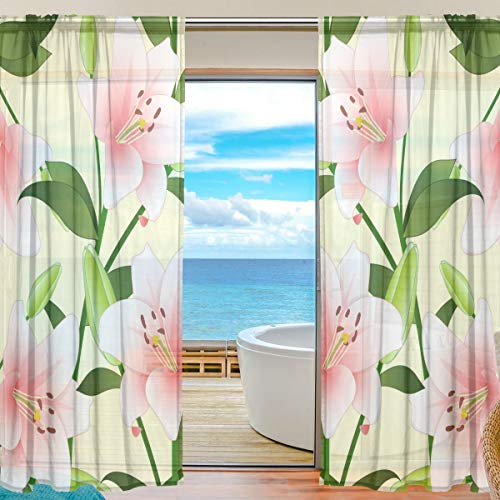 (Top Carpenter Pink Madonna Lily Semi Sheer Curtains Window Voile Drapes Panels Treatment-55x84in for Living Room Bedroom Kids Room, 2 Pieces)
