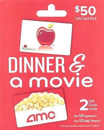 Amazon Com Applebee S Amc Dinner Amp A Movie Multipack Of 2 25 Gift Cards