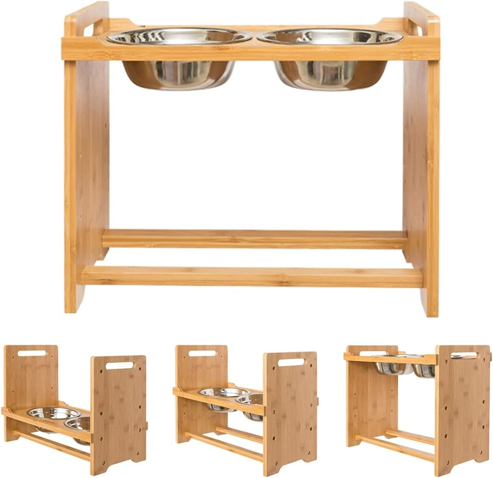 PUPTECK Raised Pet Pet Supplies  Bowls for Cats and Dogs Adjustable Bamboo Ele