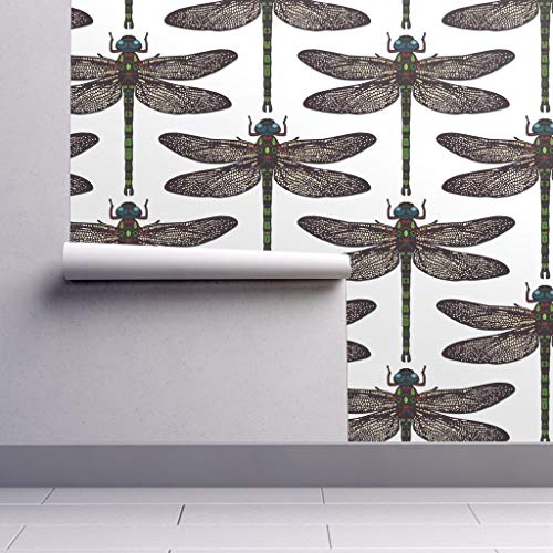 Removable Water-Activated Wallpaper - Dragonfly Insect Nature Bugs Summer Damask Upholstery Decor Insect Bug Drawing by Scrummy - 24in x 60in Smooth Textured Water-Activated Wallpaper Roll