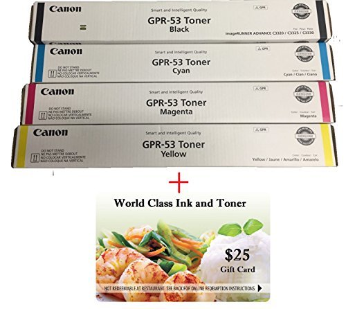 WCI© Best Value Pack® of All (4) Genuine Original Canon Brand GPR-53 Toner Cartridges. (1 each of Black/Cyan/Magenta/Yellow) for: Canon ImageRunner Advance C3325/C3325i/C3330/C3330i.