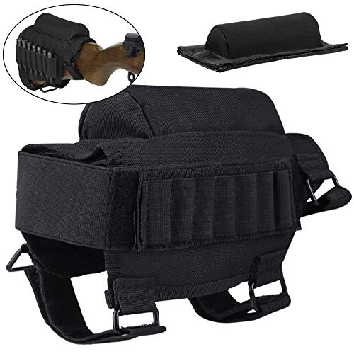 FUNANASUN Tactical Buttstock Cheek Rest with Rifle Shell Holder for 7.62.308.300 Winmag (Black) ()