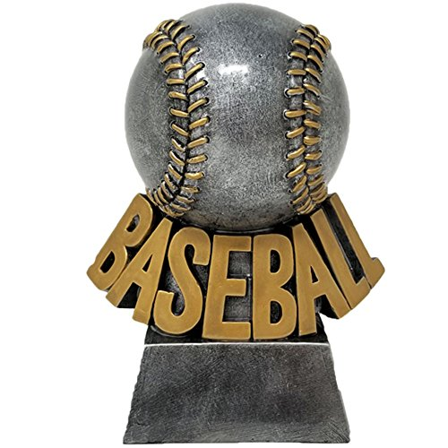 Decade Awards Baseball Resin Trophy | Detailed Stitched Baseball Award | 5.5 Inch Tall - Free Engraved Plate on Request