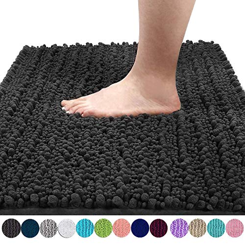 Yimobra Original Luxury Shaggy Bath Mat, Soft and Cozy, Super Absorbent Water, Non-Slip, Machine-Washable, Thick Modern for Bathroom Bedroom (24 x 17 Inch, Dark Gray)