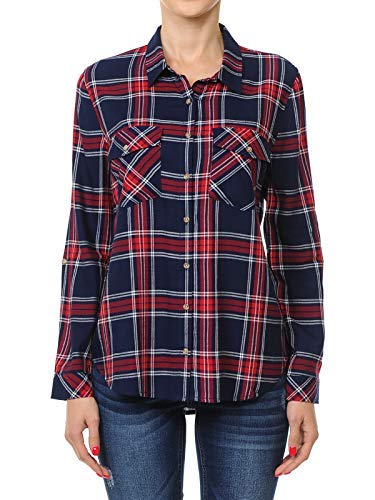 Instar Mode Women's Roll Up Long Sleeve Button-Down Plaid Flannel Shirt Navy/Red M ()