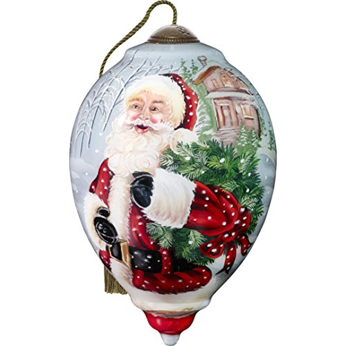 Ne'Qwa Art Hand Painted Blown Glass Santa's Holiday Wreath Ornament, Claus
