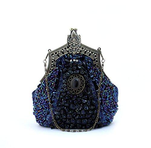 Clutch Purse Embroider Phone blue Evening Bridal ULKpiaoliang Women deep Handbags Female Bags Party Beads Wedding Banquet Handmade Vintage wfU1Uq8P