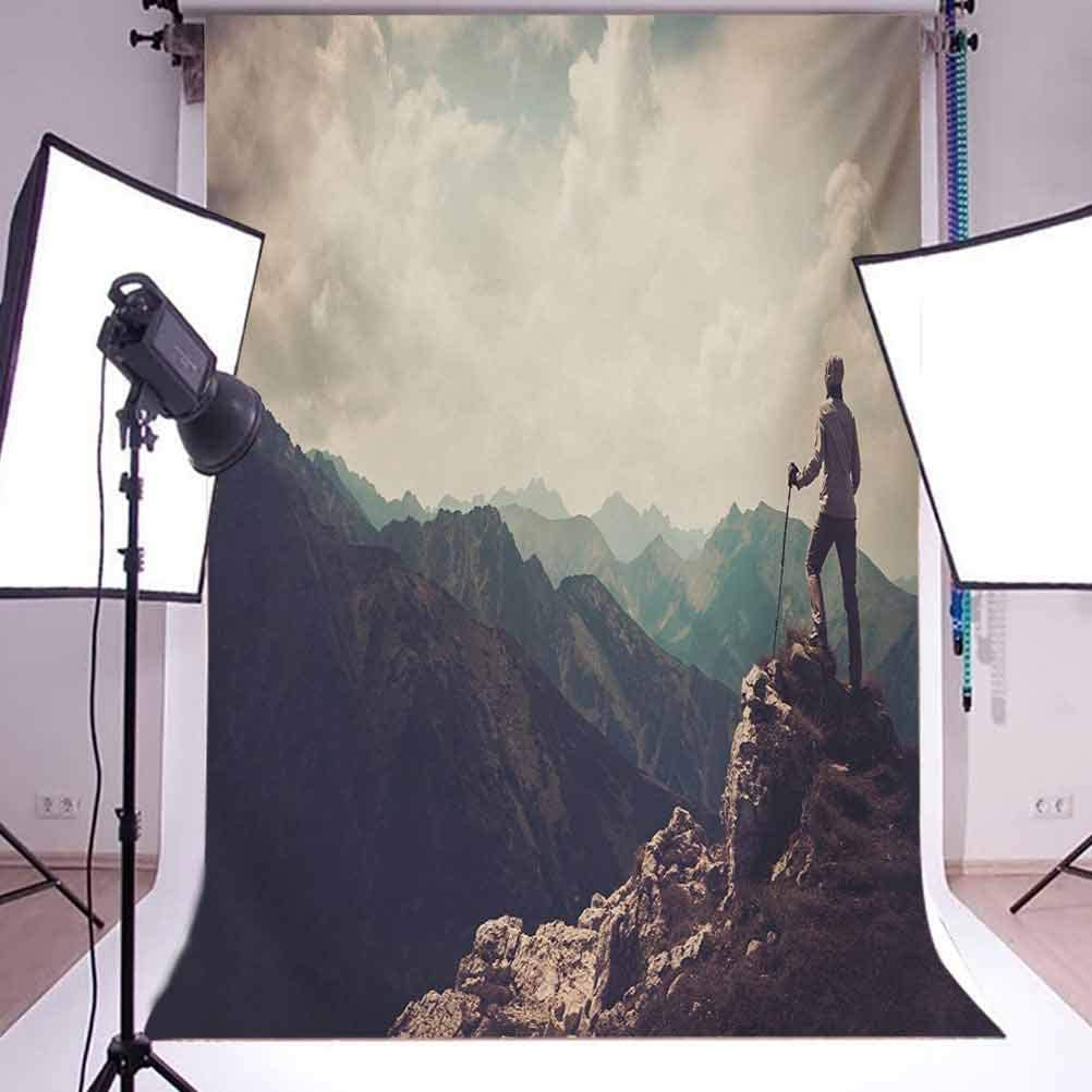 10x15 FT Photography Backdrop Woman Hiker on The Top of a Mountain Hobby Climbing Activity Adventure Trekking Background for Baby Shower Birthday Wedding Bridal Shower Party Decoration Photo Studio