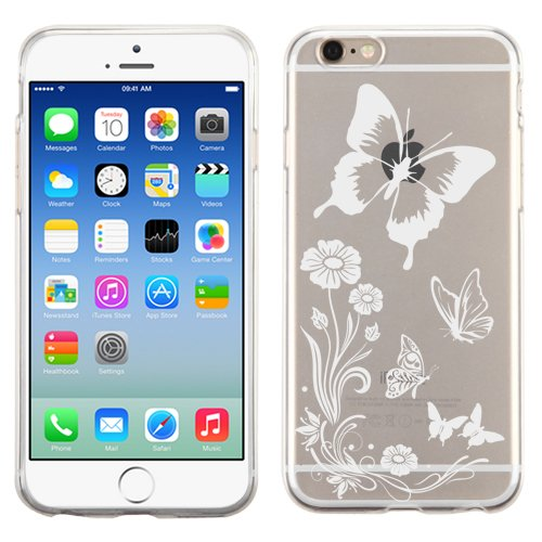 PhoneTatoos (TM) For iPhone 5S Butterflies With Flowers Transparent Clear Candy Skin Cover (Butterflies With Flowers White)