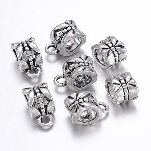 (Craftdady 20pcs Antique Tibetan Silver Cup Beads Spacer Bead Bail Bead Hanger Links Metal Connector with Loop Fit Charm European Bracelet Pendant, Lead Free & Cadmium Free & Nickel)