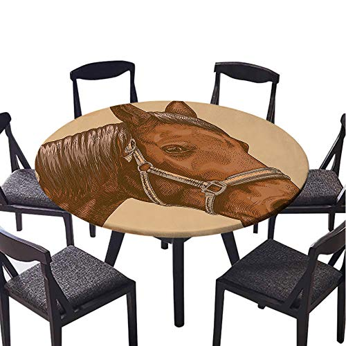 - SATVSHOP Round Premium tablecloth-60 Round-Antifouling,Animal Engraving Illustration of Detailed Hand Drawn Horse Head etro Style Image Brown and Sand Brown.(Elastic Edge)