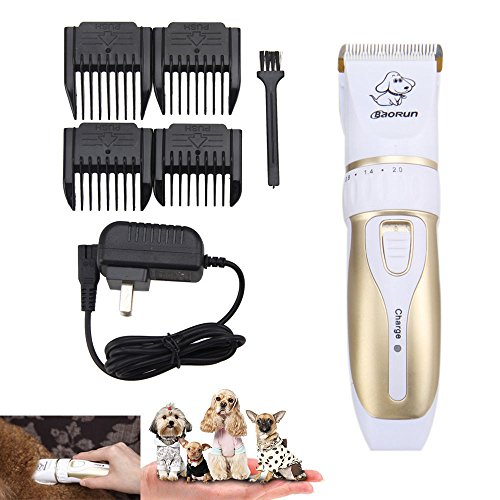 Baorun Professional Pet Grooming Clippers,Rechargeable Cordless Pet Hair Clipper for Small Medium Large Dogs Cats and Other Animals, Low Noise Pet Grooming Kit Set (Gold) (Best Rechargeable Hair Clippers Uk)