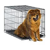 "New World 36"" Folding Metal Dog Crate, Includes Leak-Proof Plastic Tray; Dog Crate Measures 36L x 23W x 25H Inches, Fits Intermediate Dog Breeds"