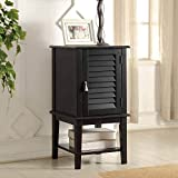 1PerfectChoice Hilda Storage Side Table Cabinet Window Shutter Design Door Shelf Black