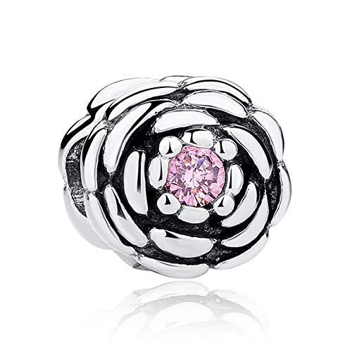 Romántico Amor Magnolia Bloom/Rose/Cherry Flower Charm Pink Enamel & CZ Silver Bead Fit Pandora Charm Bracelet