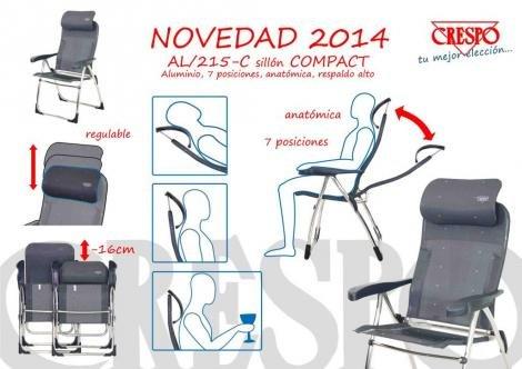 2 pieza - Silla plegable Crespo Compact - Aluminio - Tubo ...