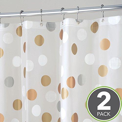 mDesign Metallic Polka Dot PEVA Shower Curtain - Pack of 2, 72