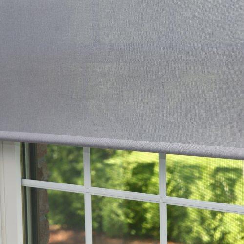 "Best Home Fashion Premium Linen Look Roller Window Shade - Grey - 24""W x 64""L"