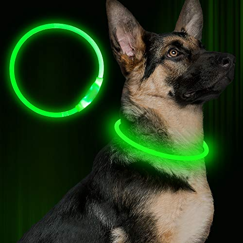 Led Dog Collar, USB Rechargeable Flash Dog Necklace Light, Pet Safety Collar Makes Your Beloved Dogs Be Seen at Night for Small Medium Large Dogs