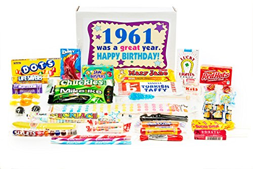 Woodstock Candy ~ 1961 58th Birthday Gift Box Nostalgic Retro Candy Mix from Childhood for 58 Year Old Man or Woman Jr ()