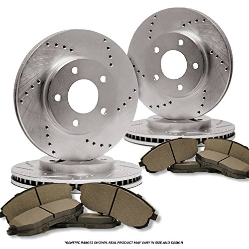 (Front+Rear Kit)(High-End) 4 Cross-Drilled Disc Brake Rotors + 8 Semi-Metallic Pads(Fits:- 3 3 Sport)(5lug)