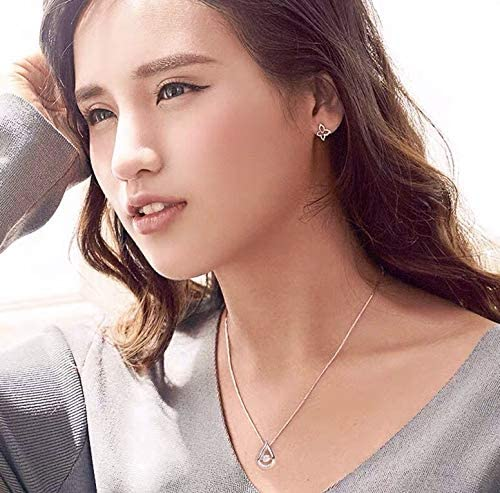 Necklaces Sterling Silver S925 Women/'s Jewelry Tear Water Drop Pendant Cubic Zircona Box Chain Necklace Gift Set