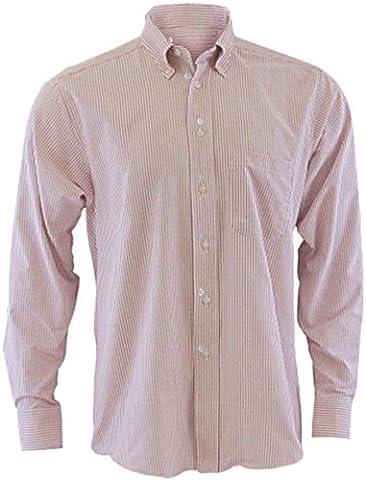 Edwards Garment Men's Long Sleeve Oxford Shirt Xxx-Large Burgundy Stripe - Edwards Button Down Oxford Shirt
