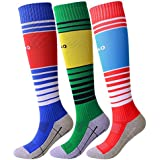 Soccer Socks for Youth Boys Girls Knee High Long Tube Sport Socks (Royal Blue/Green / Red)