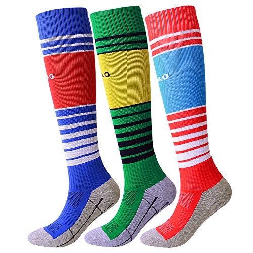 Soccer Socks for Youth Boys Girls Knee High Long Tube Sport Socks (Royal (Field Kids Socks)