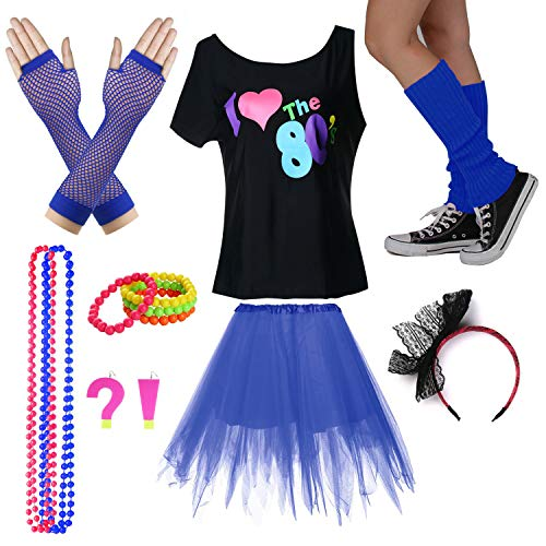 I Love The 80's T-Shirt Fancy Outfit Dress for 1980s Theme Party Supplies (XL/XXL, ()