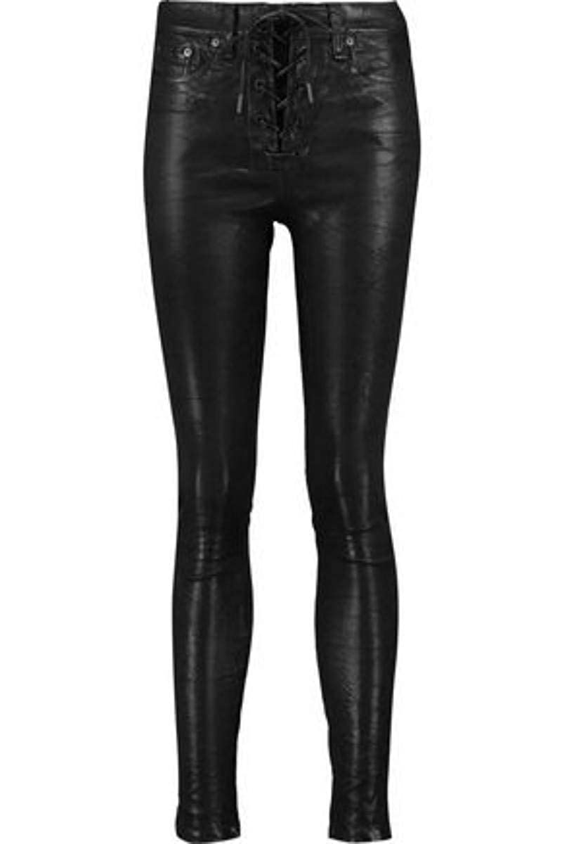 Women's Genuine Nappa Lambskin Leather Lace-Up Front Black Skinny Pants - DeluxeAdultCostumes.com
