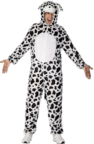 Smiffy's Adult Unisex Dalmatian Costume, Jumpsuit with Hood, Party Animals, Serious Fun, Size L, (100 Dalmatians Costumes)