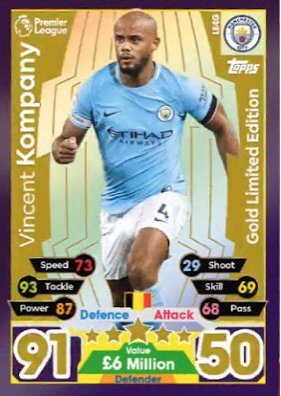 503cf7f8bf4 Match Attax Extra 2017 18 Vincent Kompany Gold Limited Edition ...