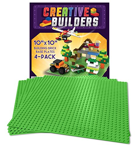 Self Adhesive Lego Compatible Baseplates   Peel And Stick Base Plates For Kids Toy Table  4 Pack 10X10   Green  Creative Builders